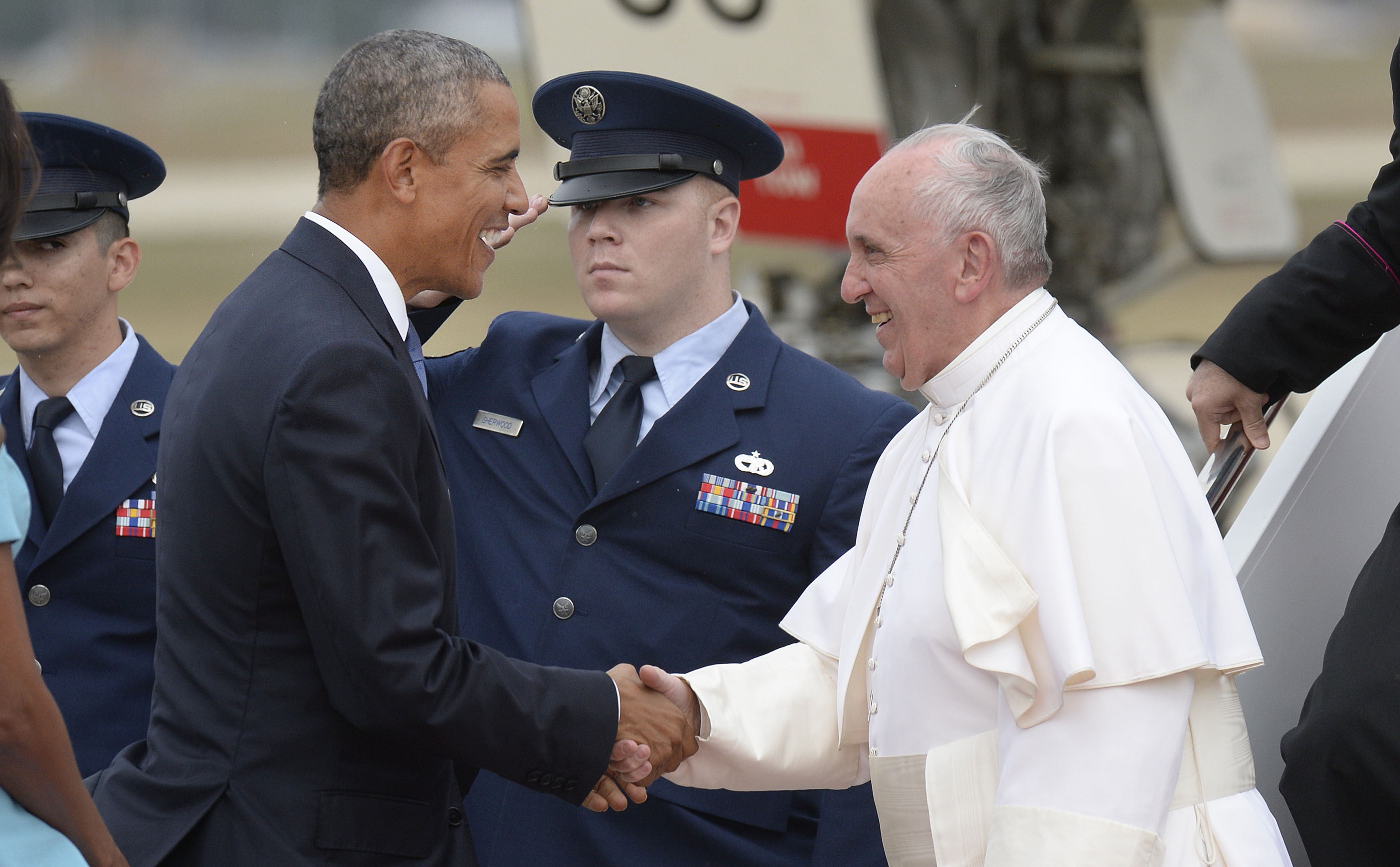 United States President Barack Obama greets His Holiness Pope Francis on his arrival at Joint Base Andrews in Maryland on September 22, 2015. The Pope is making his first trip to the United States on a three-city, five-day tour that will include Washington, D.C., New York City and Philadelphia.
