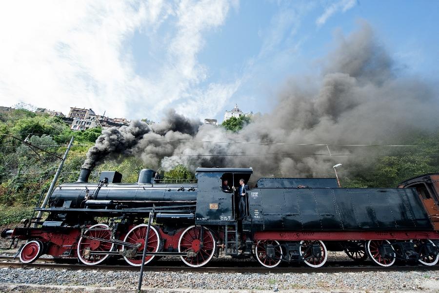 September 11 2015 : Smoke billows from a steam locomotive prior in the Castel Gandolfo's train station.