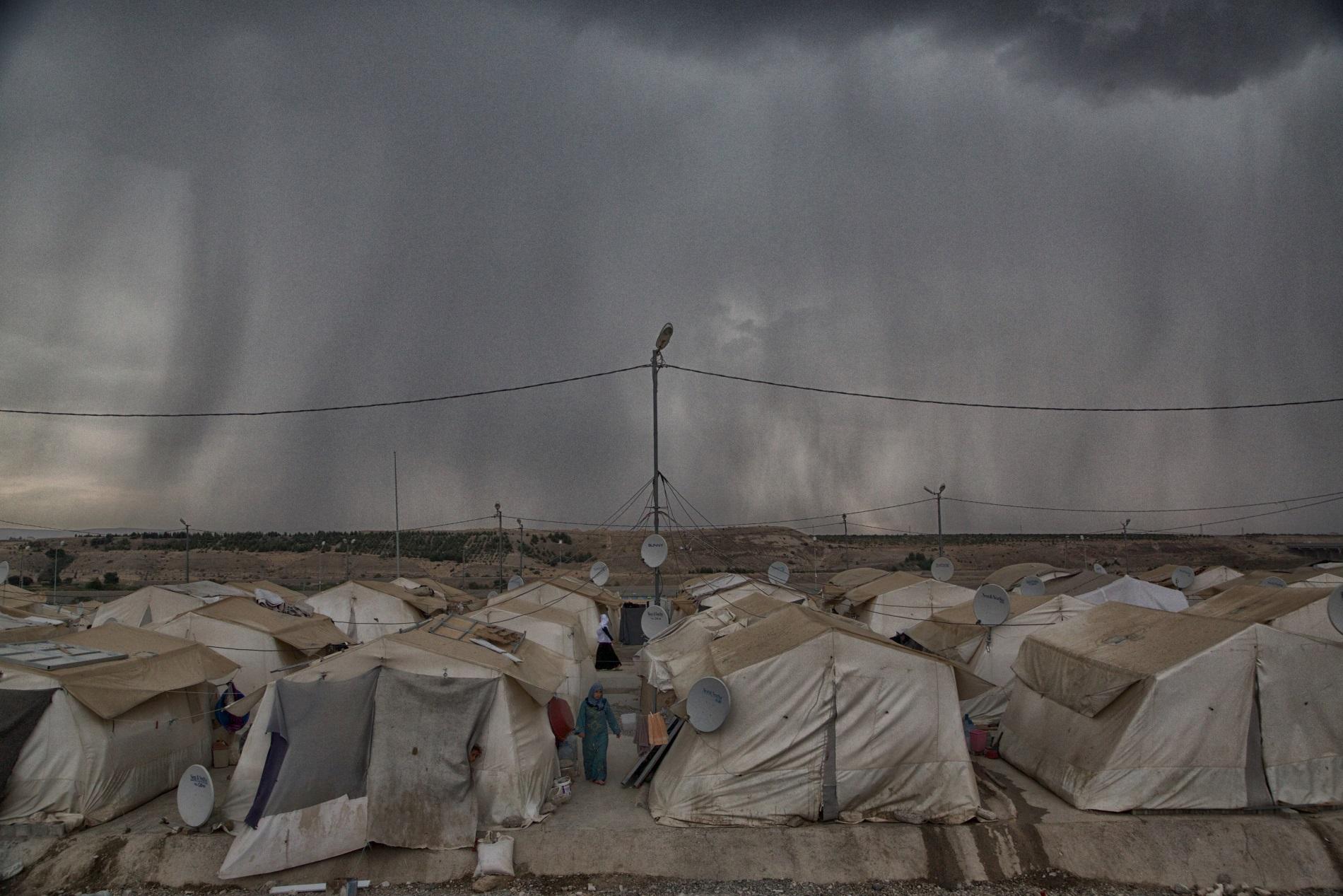 Una tormenta que se acerca al campamento de refugiados sirios en Nizip, Administrado por el AFAD, la agencia del gobierno turco para la gestión de emergencias.