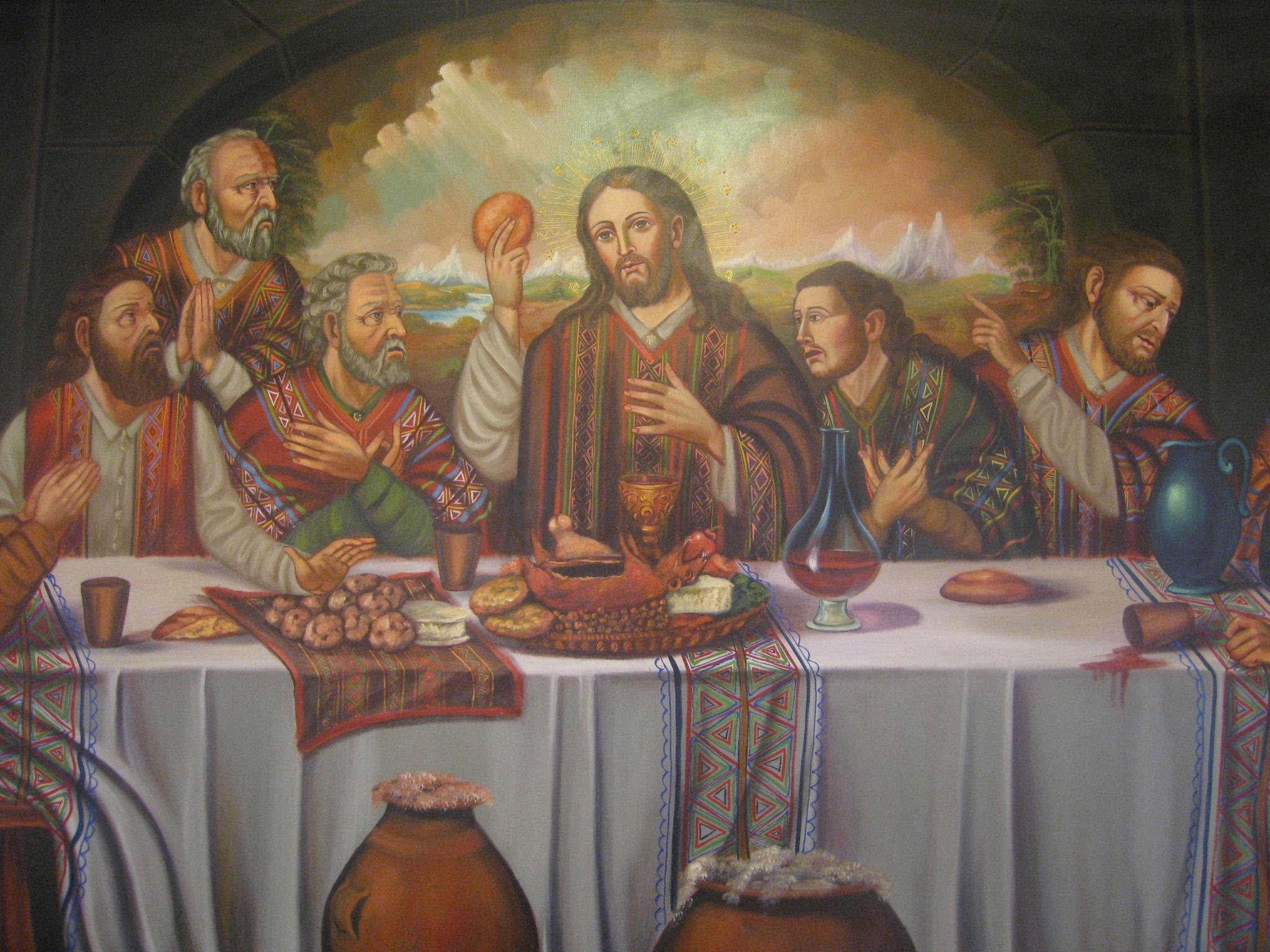La imagen del cuy aparece en varios lienzos barrocos suramericanos de la Última Cena, atendiendo a la tradición precolombina de tener un cuy en la tulpa.