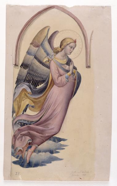 El Prado atesora piezas de dos de los discípulos más destacados de Giotto: Tadeo Gaddi y Francisco Traini pero, además, conserva una rareza excepcional: una aguada en colores y oro líquido, sobre papel, de Lorenzo Mónaco, hecha en 1838.
