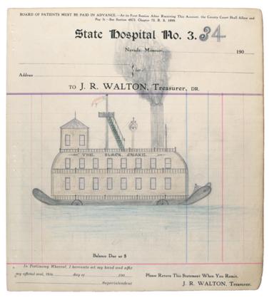 El álbum constaba de 283 dibujos, sin identificación salvo un membrete en cada hoja: Hospital Estatal No 3., Nevada, Missouri.
