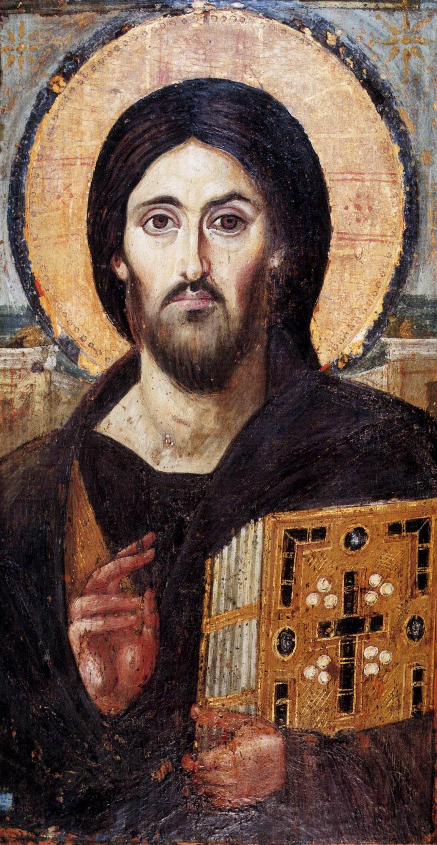 el icono más antiguo del Cristo Pantocrator del mundo, aún conservado en el monasterio de Santa Caterina del Monte Sinaí, en Egipto.