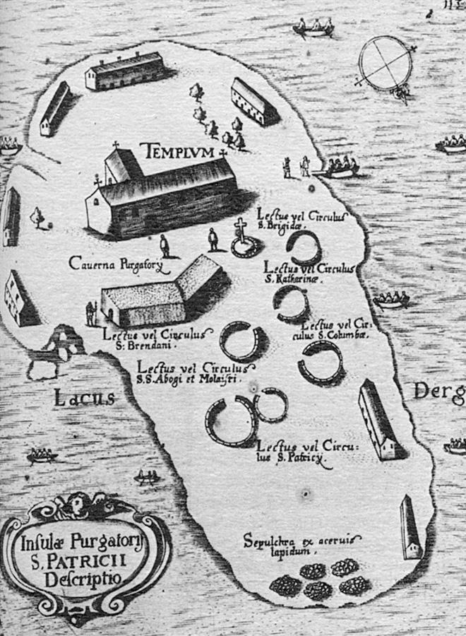 El mapa de 1666, de Thomas Carve, que describe las estaciones del peregrinaje en la isla.