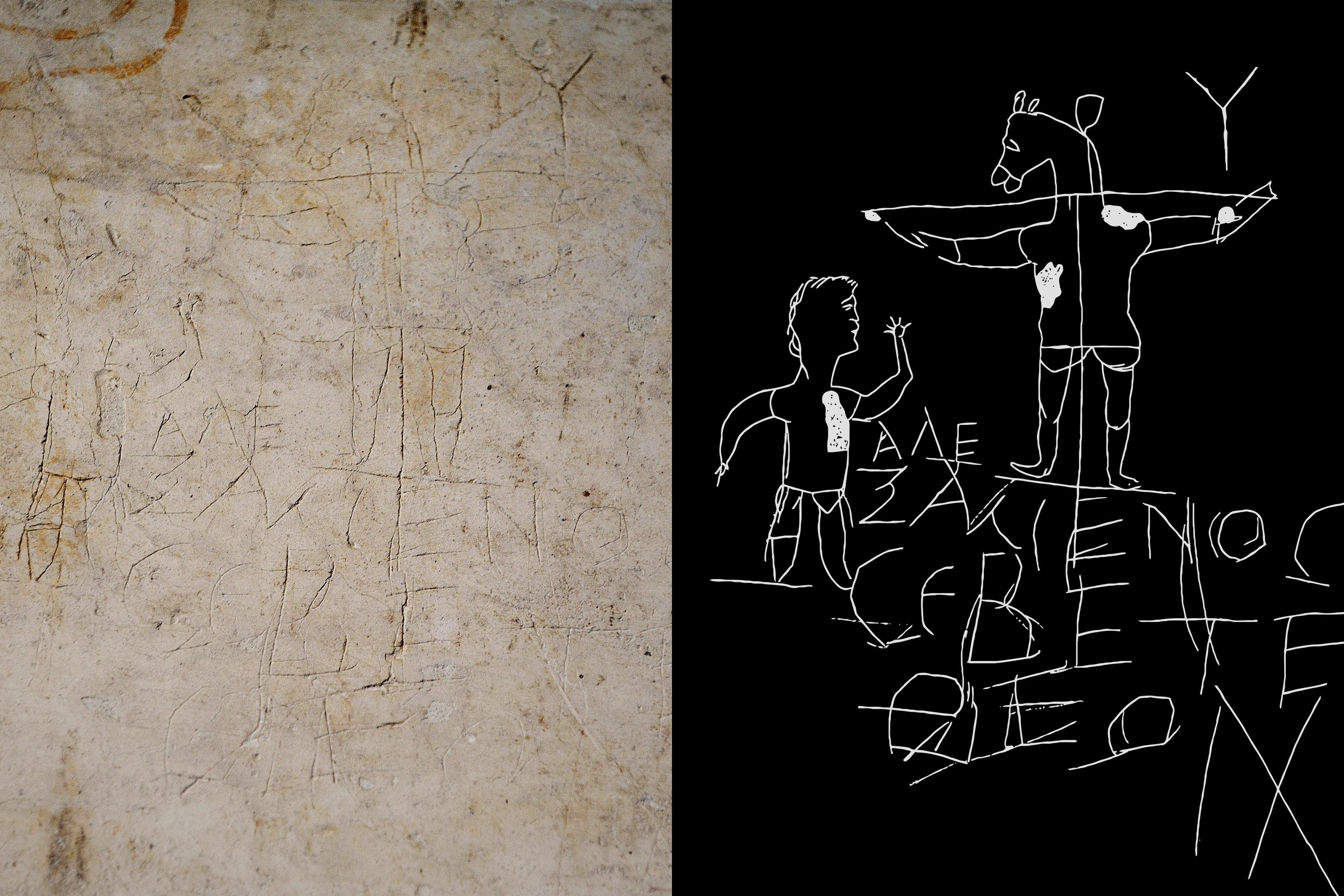 """En ella se ve a una persona frente a un crucificado con cabeza de asno, junto a la inscripción """"Alexámenos adorando a su dios""""."""
