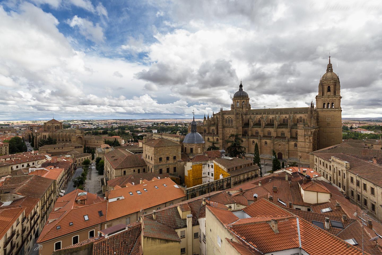 La Plaza Mayor y las catedrales de Salamanca (Vieja y Nueva).