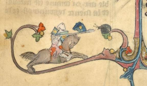 La escena épica del combate del caracol contra el caballero es inusualmente común en los manuscritos medievales ingleses, pero el hecho de que sea tan común no quiere decir que estas escenas dejen de ser extrañísimas, prácticamente indescifrables. Nadie sabe, a ciencia cierta, qué significan.