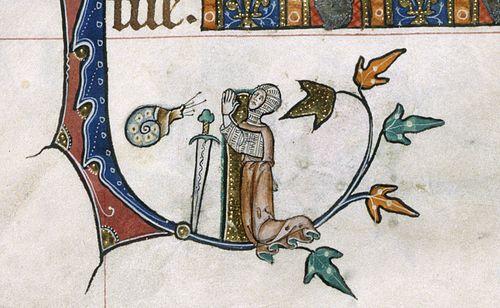 La medievalista Lisa Spangenberg dice que el caracol combatiendo al caballero armado es una representación gráfica del Salmo 58: como el caracol, que se disuelve según se arrastra, como los que nacen muertos, que nunca ven el sol.