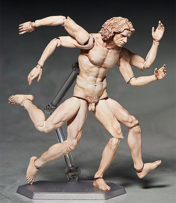 El juguete está completamente articulado, lo que permite al hombre ideal de Leonardo reproducir no sólo la inmortal pose que todos conocemos, sino tantas como el oficio del usuario requiera.