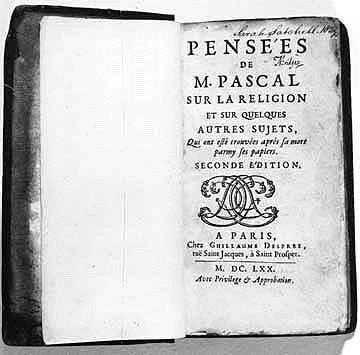 Siempre frágil de salud, falleció apenas a los 39 años de edad, habiendo antes vendido todas sus pertenencias y donándolas a la caridad. Por ello, no pudo terminar su gran obra: una Apologética, de la que sólo tenemos alrededor de mil papeles, agrupados en 60 fajos, que conocemos, parcialmente, como los Pensamientos de Blaise Pascal.