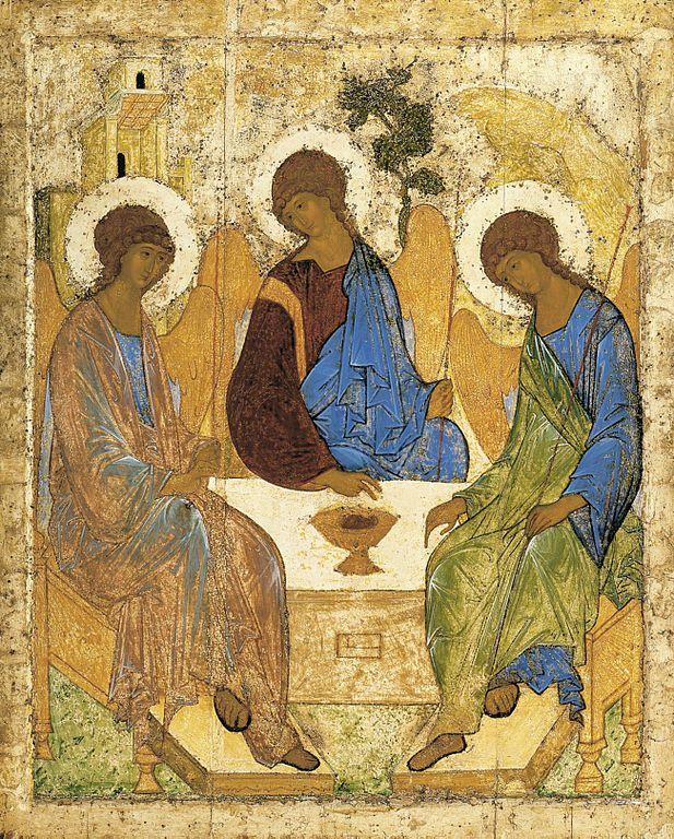 El icono representa a los tres ángeles que, de acuerdo al episodio bíblico conocido como el encinar de Mambré, visitaron a Abraham y fueron invitados por el patriarca a compartir su tienda y su mesa.