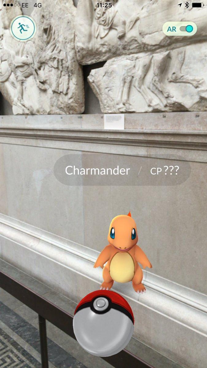 En la sala de los Elgin Marbles, los mármoles de los frisos del Partenón, en el Museo Británico, se consiguen Pokemones.