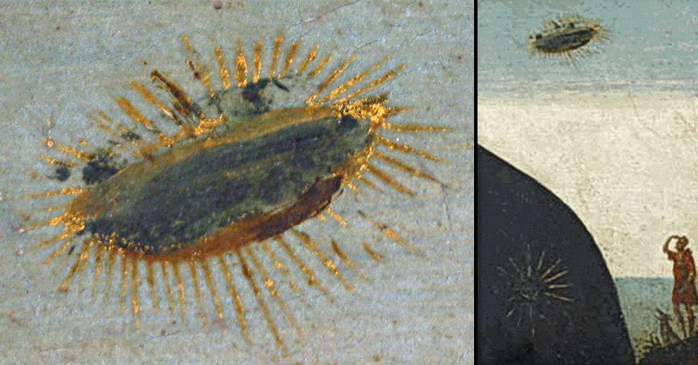 En la imagen, se ve un objeto luminoso, ovoide, al lado derecho de la imagen, junto a la cabeza de la Virgen, ubicado en un plano posterior.