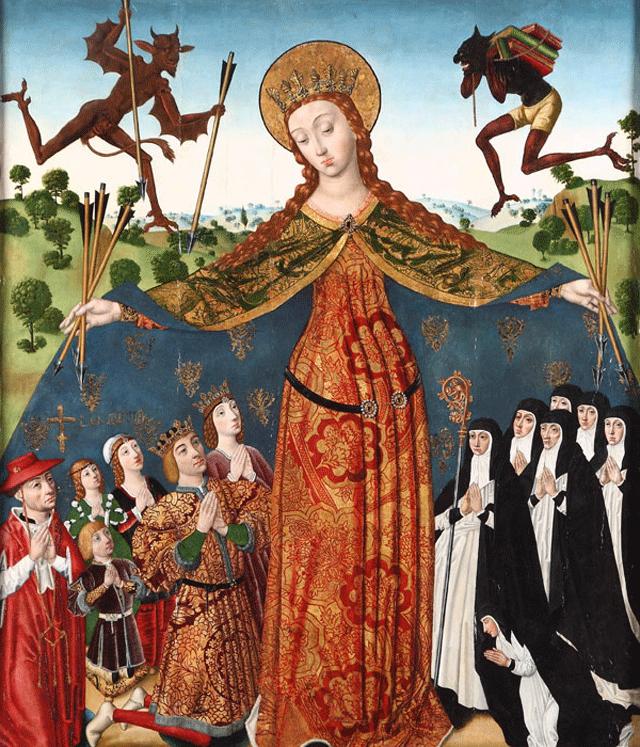 En el monasterio de la Huelgas, en Burgos, la imagen de la Virgen de la Misericordia protege bajo su manto a un grupo de monjas cistercienses (y a sus benefactores). Fuera del manto se ve, al lado derecho, a Titivillus cargando, precisamente, un fajo de libros. La imagen es del pintor Diego De La Cruz.