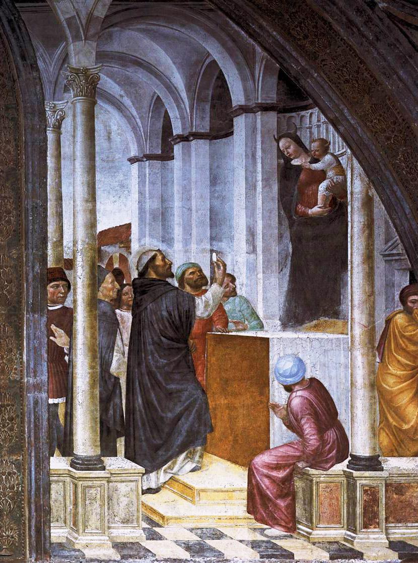 San Pedro tomó en sus manos una hostia consagrada y, dirigiéndose a la aparición, le increpó: si eres la Madre de Dios, adora aquí a tu hijo. El demonio huyó y los cátaros reunidos en el grupo volvieron a la fe católica.