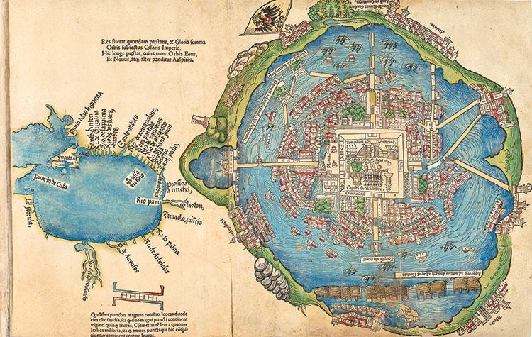 Este mapa, publicado en Nuremberg en 1524, junto con una serie de traducciones al latín de las cartas que Hernán Cortés a Carlos V traducidos al latín, es la primera imagen Tenochtitlán vista en Europa