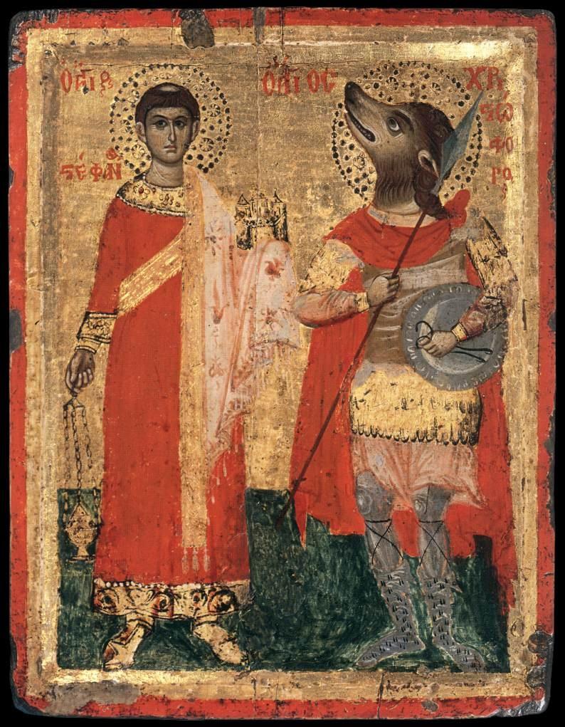 Los cinocéfalos, cuentan algunas historias apócrifas, incluso se encontraron con San Pedro, quien les predicó el Evangelio, y algunas otras tradiciones cristianas orientales y africanas ortodoxas hacen de San Cristóbal, precisamente, un cinocéfalo.