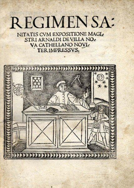 Portada de la primera edición impresa del Regimen Sanitatis Salernitanum, en 1480.