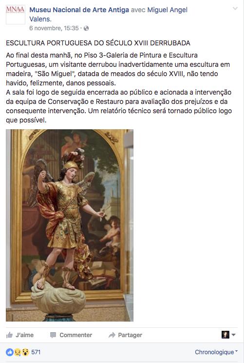 El comunicado del museo, en su página de Facebook.