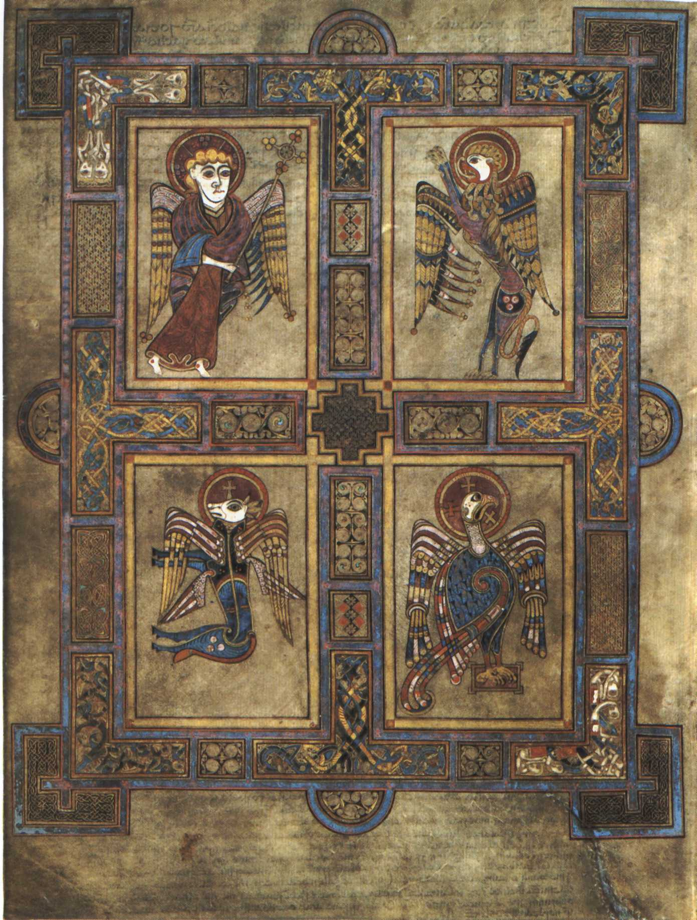 El Tetramorphos del Libro de Kells, siglo VIII.
