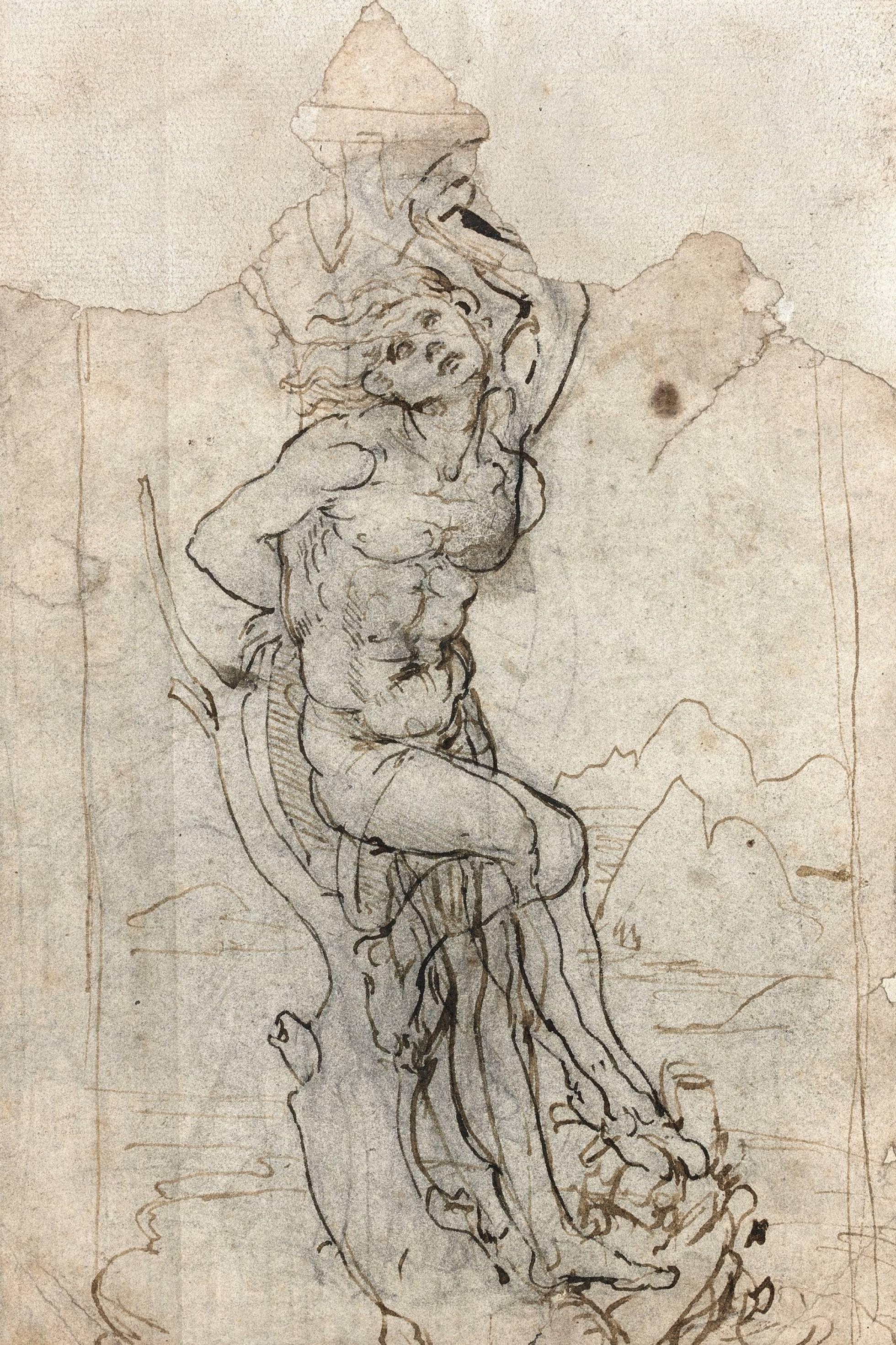 Entre los 14 dibujos guardados en la carpeta, figuraba un estudio del martirio de San Sebastián que, de acuerdo a Thadée Prate, el director del departamento de dibujos antiguos de la casa de subastas, recordaba a otros dibujos de Da Vinci.