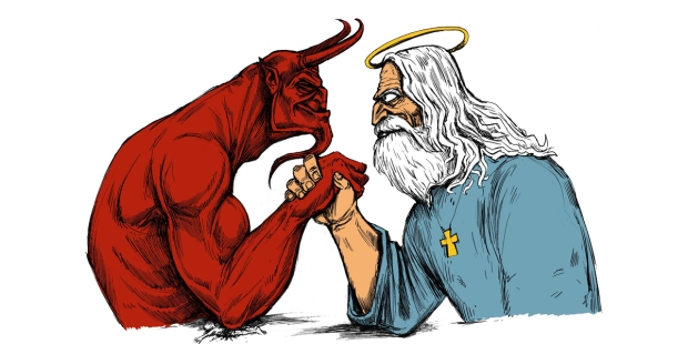 GOD,DEVIL,ARM WRESTLING
