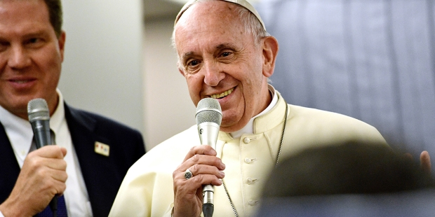 Pope Francis journalists Plane