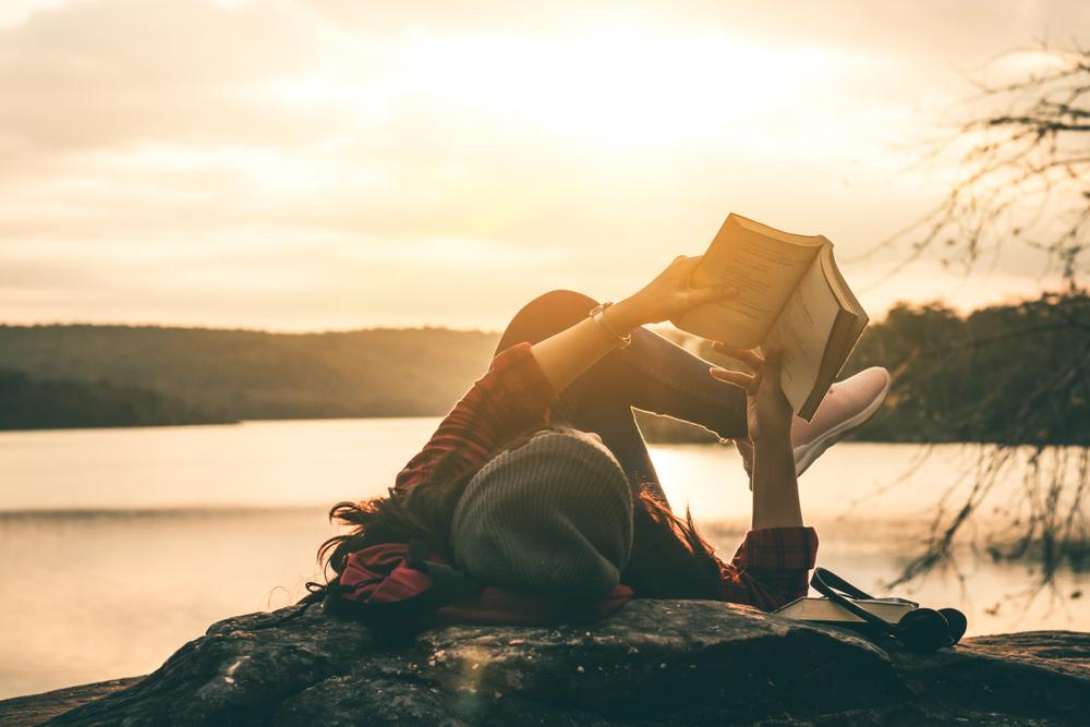 GIRL, READING, SUNSET