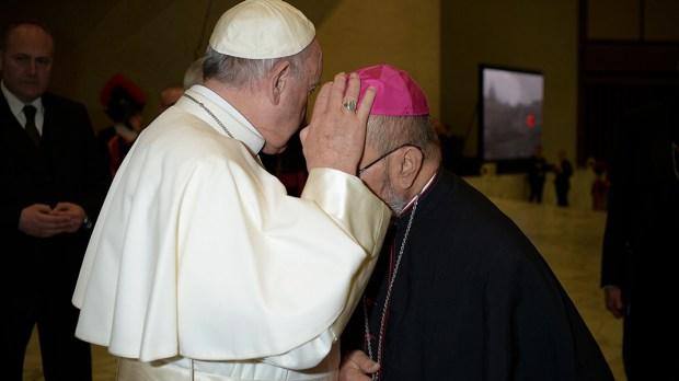 POPE FRANCIS BLESSES MSGR. ANTHONY SABLAN APURON