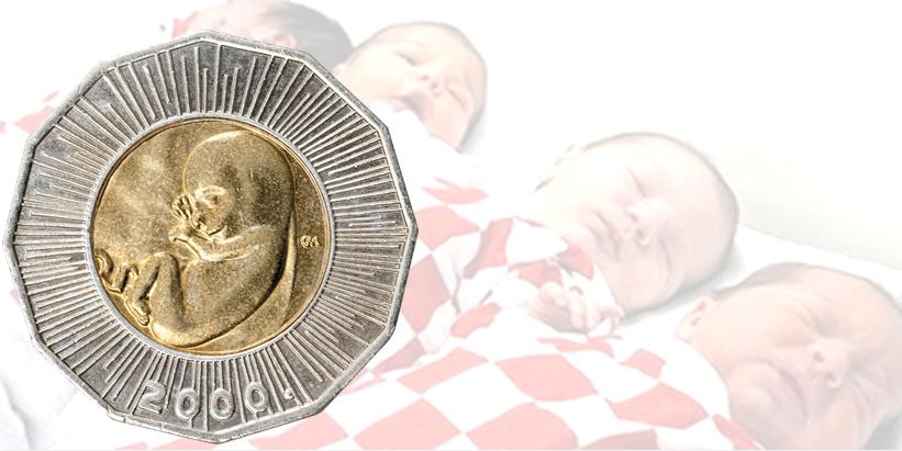 moeda croata 25 kunas bebê