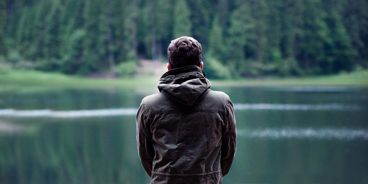 MAN,ALONE,LAKE