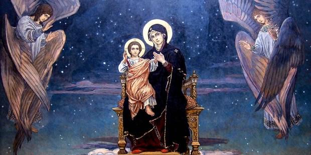 MARY,CHILD JESUS,ANGELS