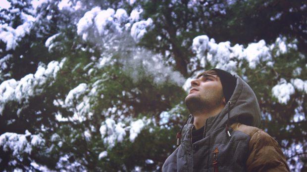 man, snow, mountain,
