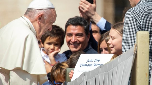POPE MEETS GRETA THUNBERG