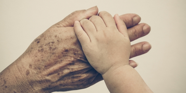 old & young hands