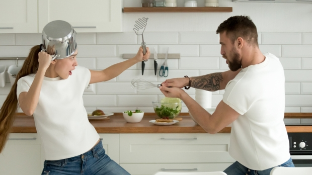 Funny couple fighting