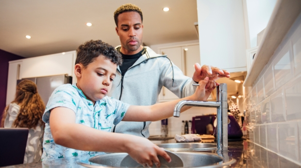 Wash, Dishes, Family, Father, Son,