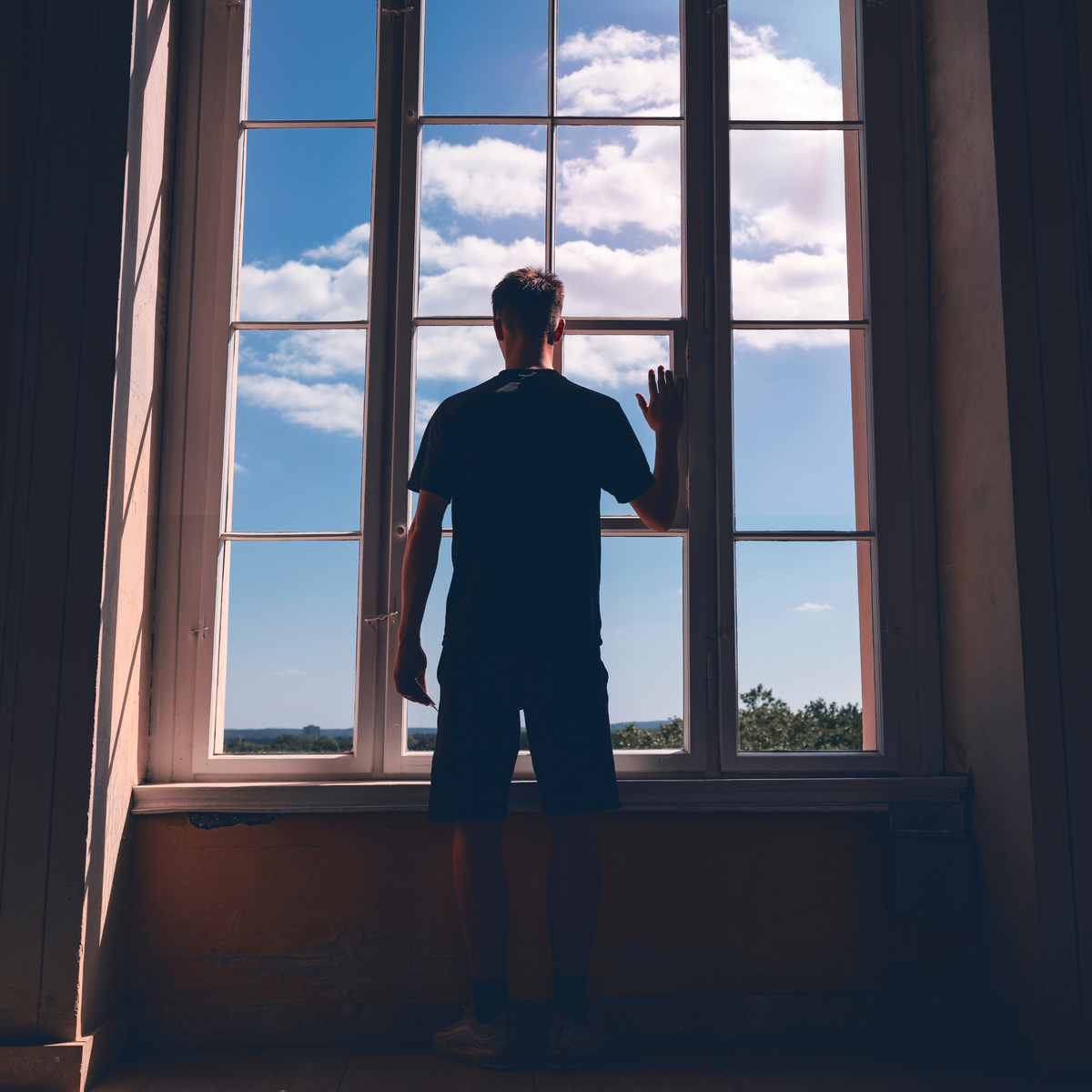 BOY, WINDOW, CLOUD