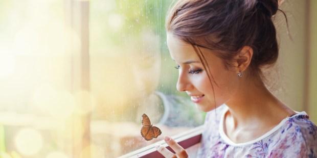 Woman, Home, Window, Butterfly, Resurrection