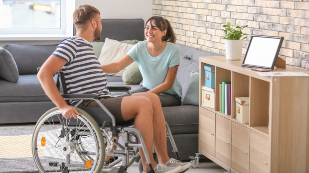 Man, Wheelchair, Wife, Couple, Home, Handicapped