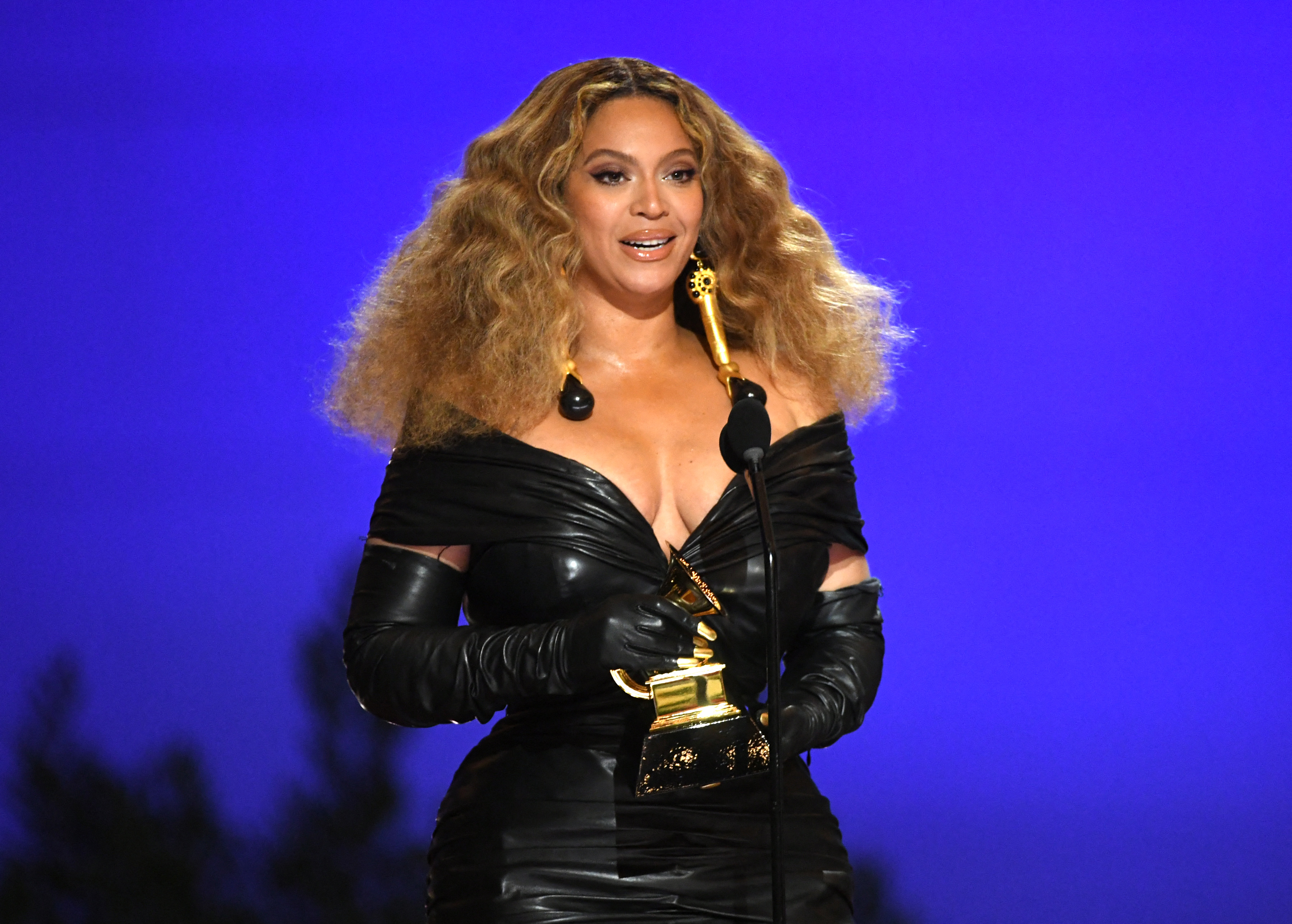 LOS ANGELES, CALIFORNIA - MARCH 14: Beyoncé accepts the Best R&B Performance award for 'Black Parade' onstage during the 63rd Annual GRAMMY Awards at Los Angeles Convention Center on March 14, 2021 in Los Angeles