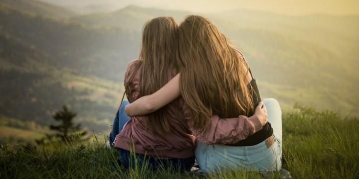 GIRLS, HUG, NATURE