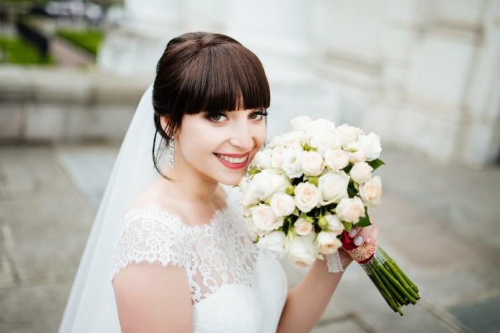 BRIDE, SMILE, FLOWER